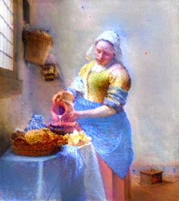 This image is a Vermeer in the style of a Benson painting...